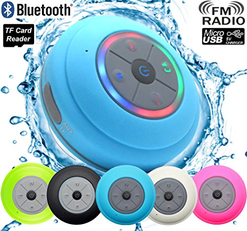 Guppy Water Resistant Bluetooth LED Shower Speaker FM Radio TF Card Reader, 2016 Model Kid-friendly, Built-in Control Buttons, Speakerphone, Powerful Suction Cup Best for Indoor/Outdoor Use (Blue)