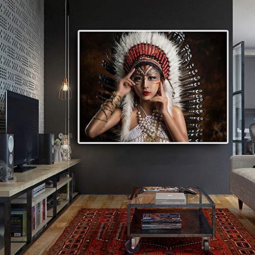 Geiqianjiumai posters en afdrukken op het doek van de lantaardige vogelveren portret olieverfschilderij muurkunst foto's in de woonkamer