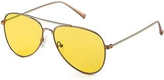 SGJFZD Fashion Lady Sunglasses Fine Side Personality Big Box Sunglasses Trendy Metal Sun Shade Mirror (Color : Yellow)