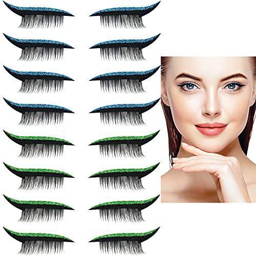 8 Pairs Glitter Eyeliner Sticker with Eyelashes Invisible Reusable Eye Line Strip Sticker and False Eyelashes Self-Adhesive Shiny Eyeliner Stickers for Women Party Eye Makeup (Blue, Green)