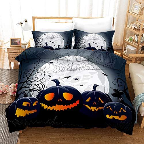 Ropa de cama doble 3D araña calabaza floral impreso 3 piezas negro funda de edredón funda de edredón con cierre de cremallera para niñas, ropa de cama de microfibra ultra suave con cremallera