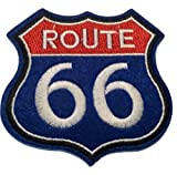 b2see Parche adhesivo termoadhesivo con diseño de Route 66 de Jeans, tejido cosido, parche termoadhesivo, bordado para coser, Route 66, 8 x 8 cm
