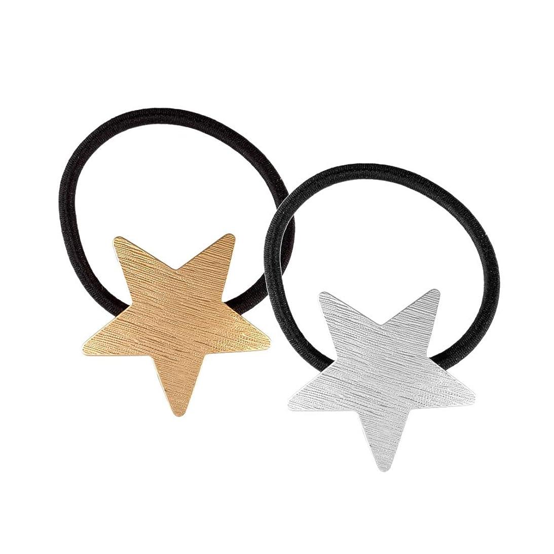 構造的感情に対応Lurrose 2ピース弾性ヘアネクタイ金属合金ヘアネクタイペンタグラムポニーテールホルダー用女性女の子(ゴールドとシルバー)