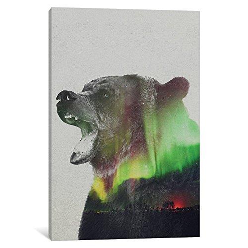 iCanvasART ALE150 Aurora Borealis Series: Bear Gallery Wrapp...