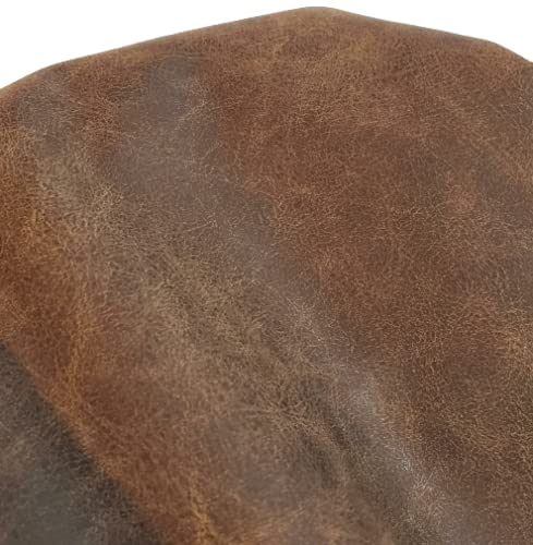 NAT Leathers | Brown Distressed 2 Tone Oily Faux Vegan Leather PU {Peta Approved Vegan} | 1 Yard 36 inch x 54 inch Cut by Yard Pleather 0.9 mm Upholstery | Brown Crazy Horse Distress 36'X54'