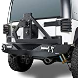 off road tire - Hooke Road Wrangler JK Offroad Rear Bumper & Spare Tire Arm Rack w/2 x 18W LED Accent Lights Compatible with Jeep Wrangler JK & Unlimited 2007-2018