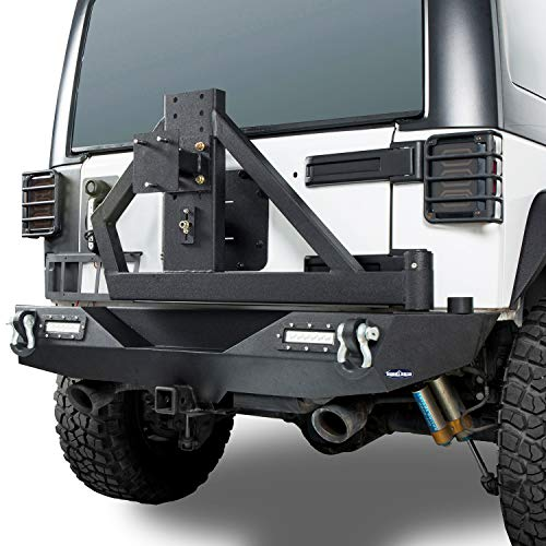Hooke Road Wrangler JK Offroad Rear Bumper & Spare Tire Arm Rack w/2 x 18W LED Accent Lights Compatible with Jeep Wrangler JK & Unlimited 2007-2018