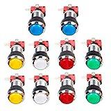 EG Starts Lot de 10 boutons chromés LED avec micro interrupteur d'interface 4,8 mm pour jeux vidéo...