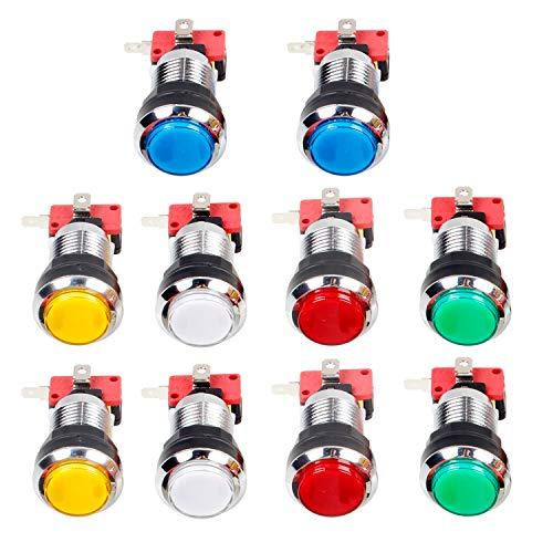 EG STARTS 10x Arcade Chrome LED botones iluminados con interfaz de 4.8 mm Micro Switch para juegos de máquinas Arcade Mame Jamma Parts 12V (cada color de 2 piezas)