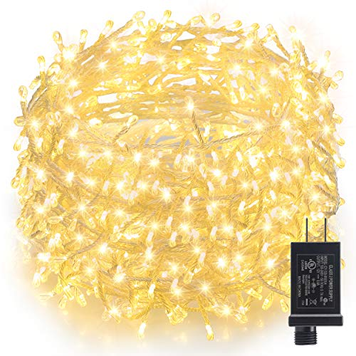 GDEALER TS26 Plug in 300 Led Copper Wire Plug in Waterproof Fairy String Lights for Bedroom Wedding Party Tree House Christmas Decoration Bright Warm White
