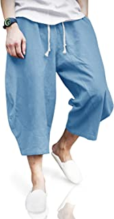 Sponsored Ad - Cotrasen Mens Baggy Linen Capri Pants Casual Harem Summer Relaxed Elastic Waist Below Knee Long Shorts with...