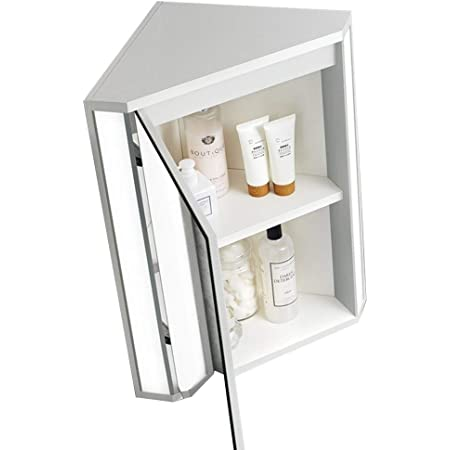 Mirror Cabinets Bathroom Triangle Wall Mounted Storage Cabinet Corner Cabinet With Light Medicine Cabinet With Mirror Wall Mounted Vanity Mirrors Color White Size 47 60 33cm Amazon Co Uk Kitchen Home