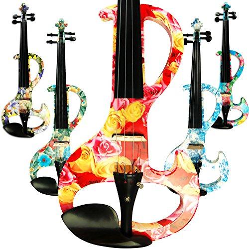 Aliyes - Violino elettrico professionale a mano da donna, silenzioso, 4/4, in legno massello, professionale, per principianti, per violino da viaggio, per spalla, 1003