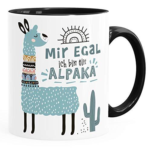 SpecialMe® Kaffeetasse Spruch Mir egal ich bin ein Alpaka - Alpaka-Motiv Lama Geschenk Alpaka-Liebhaber Bürotasse Türkis Inner-Schwarz Keramik-Tasse