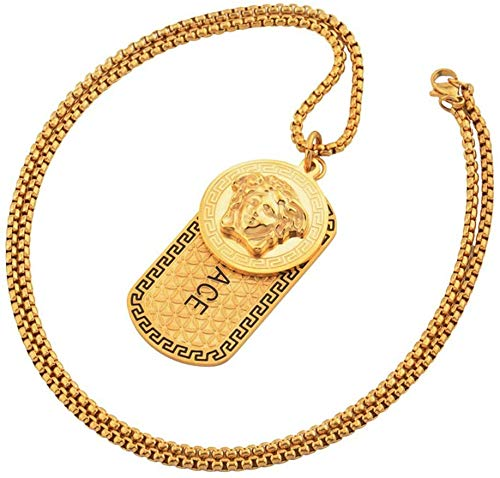Jewelry Men Biker Necklace, Medusa Pendant 18K Gold Alloy Necklace Men and Women Jewelry Accessories,A