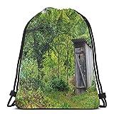 XCNGG Sacs à cordon de serrage Sac de sport de voyage, ancienne dépendance de chalet ancien dans une image de bois de forêt de montagne de printemps