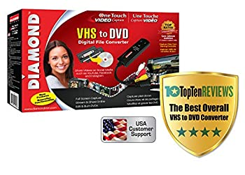 Diamond Multimedia VC500 One Touch VHS to Digital File DVD Convertor with Easy to use Software Convert Edit and Save For Win7 Win8 and Win10, one color One Size