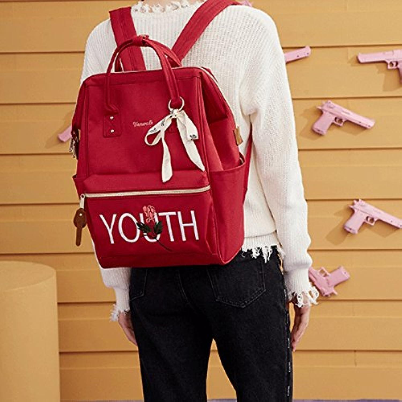 Unbekannt Rucksack - Süe Student Bag Female Schultertasche High Capacity Casual Reisen Rucksack (Farbe   rot)