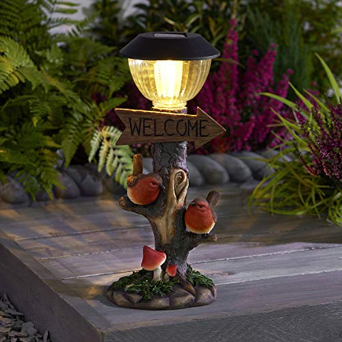 EEMKAY New Adorable Solar Power Robin & Lamp Post LED Decorative Garden Bird Light Ornament and Welcome Sign