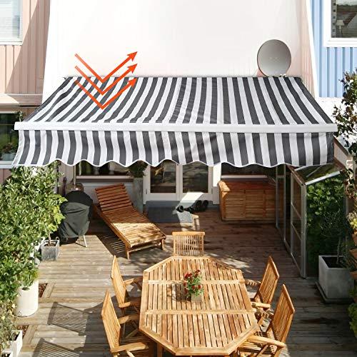 wolketon Gelenkarmmarkise Easy Balkonmarkise Sonnenschutz Terrasse, Kurbelbedienung, für Balkon und Veranda, Anti-UV und wasserfest, 3,5 x 3 m, Weiß/Grau Gestreift