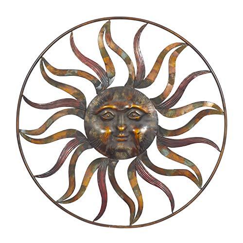 Deco 79 97917 Sun Face Wall Decor, 36'Diameter, Textured Bronze Finish