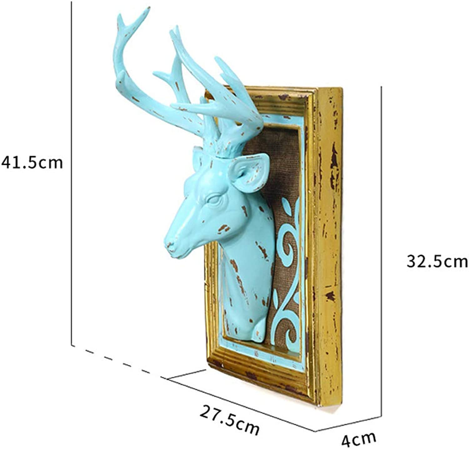 Wall Wall Hanging Natural Resin Deer Head Wall Painted Decoration Simple Modern Home Bedroom Decoration 2 colors,bluee