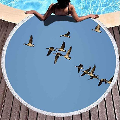Chunwei Toallas de Playa para niñas, Toalla de Playa de Secado rápido Toallas de Playa Suaves Flock Canada Geese Flying in Blue Sky Toalla de Playa Redonda de Microfibra de 60 x 60 Pulgadas