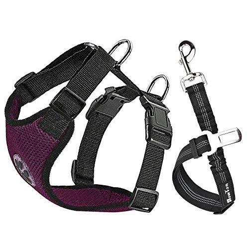 SlowTon Hundegeschirr mit Sicherheitsgurt Double luftdurchlässiges Latex-Gittergewebe Geschirr reguläre Reisenweste Autosicherheitsgurt für alle alltäglichen sportlichen Aktivitäten dem Vierbeiner