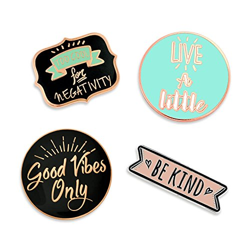 PinMart Good Vibes Motivational Inspirational Enamel Lapel Pin Set