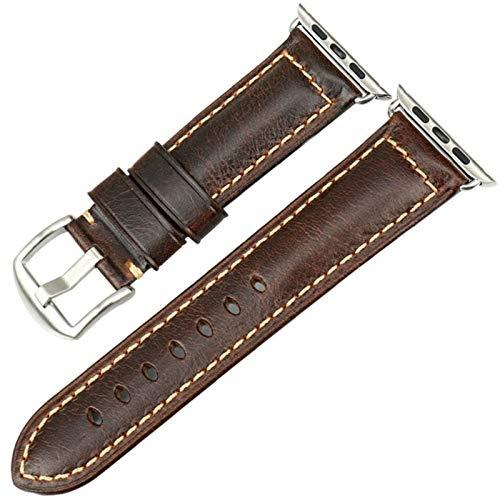 Pulsera Banda de cuero para Apple Watch 44 mm 40 mm 42 mm 38 mm 6 SE 5 4 3 2 1 Para iWatch Correa de reloj-Marrón oscuro S, 42 mm