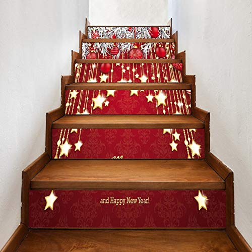A.Monamour Pegatinas de Escalera Autoadhesivos 3D Fondo Rojo Bolas Estrellas Adornos Navideños Vinilo Impermeable Pegatinas de Pared Adhesivos Etiquetas Pegatinas de Baldosas 6 PCs