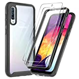 LeYi Compatible with Samsung Galaxy A50 Case, Galaxy A50 Case with 2 Glass Screen Protector, Full-Body Protective Hybrid Rugged Clear Bumper Shockproof Phone Cover Case for Samsung A50, Black