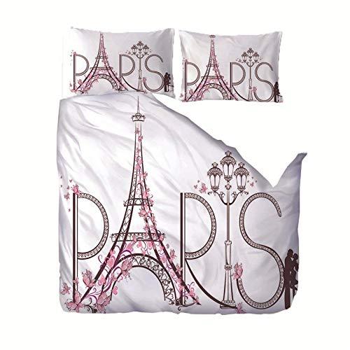 Juego de Funda nórdica 220x240 cm Flor Torre Eiffelen 3D con Cierre de Cremallera de 3 Piezas con 2 Fundas de Almohada 50x75cm, en 100% Poliéster