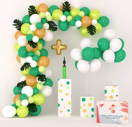 Balloon Arch Kit & Balloon Garland Kit 16Ft with Two Extra Balloon Stands and Pump   Easy-Assemble Video & eBook Instruction   102 White Gold Green Balloons   Ideal Dinosaur Party Decorations