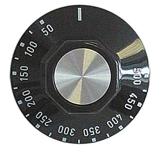 GGF Knebel für Pizzaofen X4-36, X44-36 für Thermostat ø 50mm Symbol 0-500°C für Achse ø 6x4,6mm mit Abflachung oben schwarz