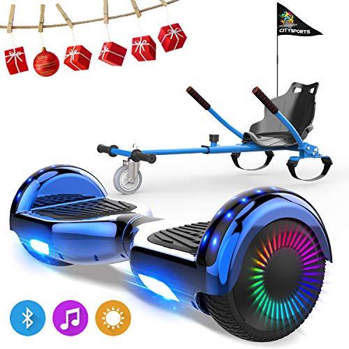 NEOMOTION Hover Board da 6,5 Pollici con hoverkart Scooter Auto-bilanciamento con Bluetooth LED Flash Solido Sedile Luminoso Motore Regalo Giocattolo per Bambini e Ragazzi