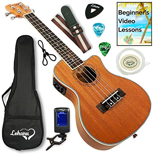 Ukulele from Lohanu Cutaway Electric With 3 Band EQ & Pick Up With All Accessories Included!...