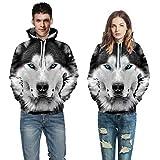 Internet—Traje de suéter de Pareja: otoño e Invierno, Informal con Estampado de Lobo en 3D...