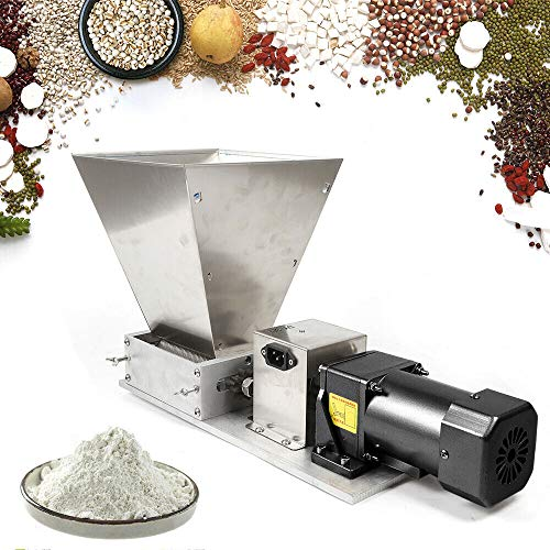 LFJD Dy-368 Electric Grain Mill Dry& Wet Barley Grinder Malt Crusher Animal Poultry Feed Mill Dry Corn Grain Rice Wheat Machine Grain Mill Home Brew Mill Stainless Steel w/Aluminum Funnel CA/NJ SHIP