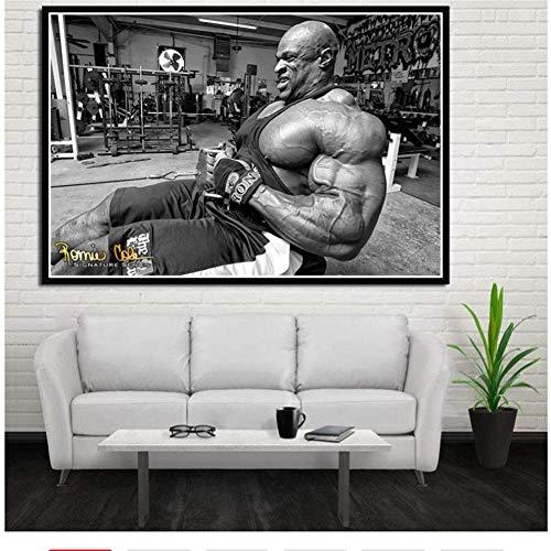 Ronnie Coleman Fitness GYM Sport Star Muscle Man Poster Prints Wall Art Pictures Sala de estar Decoración del hogarPintura de la lona -60x80cm Sin marco