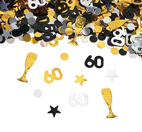 60. Geburtstag Jubiläum Konfetti Gold Silber Schwarz Sterne Punkte Weinglas Tisch Deko für Hochzeit Feier Jubiläum Deko über 500 Stück