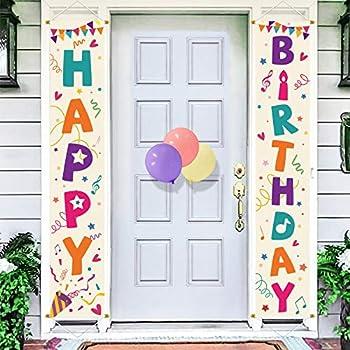 Bunny Chorus Happy Birthday Porch Sign Birthday Yard Signs Door Banner Hanging Indoor Outdoor Decor Birthday Party Decorations Supplies Cream