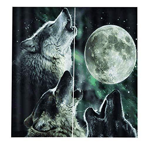 ArgoBear Nacht Wolf Vorhang 170 * 200 Gardinen Grommet Fenster Vorhang Halb Voile drapiert Panels für Wohnzimmer Schlafzimmer