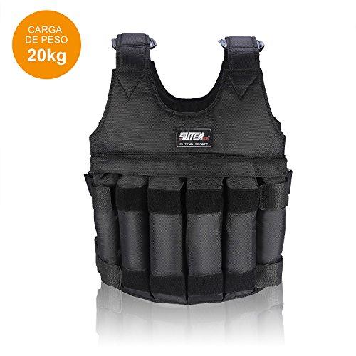 Zerone Chaleco con peso ajustable, chaleco de entrenamiento de ejercicio de carga máxima de 20 kg ajustable, 12 bolsas para pérdida de peso, correr, entrenamiento, gimnasio