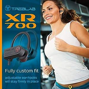Treblab XR700 PRO Wireless Running Earbuds - Top 2019 Sports Headphones, Custom Adjustable Earhooks, Bluetooth 5.0 IPX7 Waterproof,Rugged Workout Earphones, Noise Cancelling Microphone in-Ear Headset