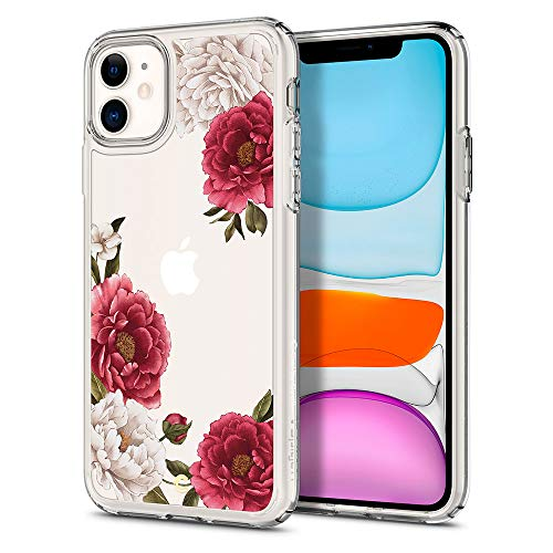 CYRILL Cielby kompatibel mit iPhone 11 Hülle weichem TPU mit hart PC rückseite iPhone 11 case (076CS27215) - Rot Blumen Transparent