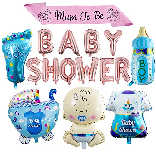ZOEON Baby Shower Globos para Fiestas Infantiles, Globos de Papel de Aluminio It's a Boy/Girl con Faja Mum to Be (NIÑO)