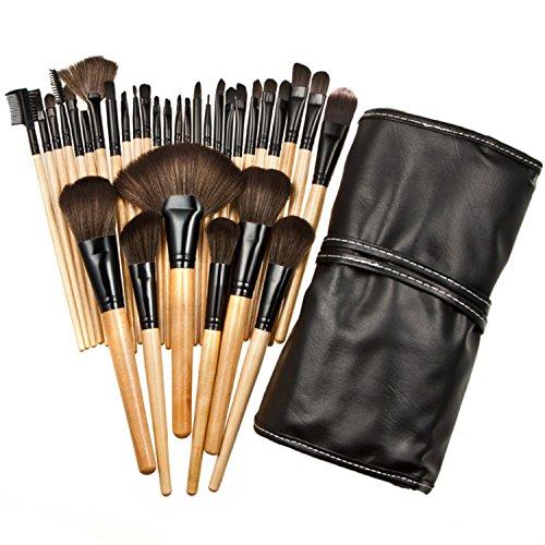 Kit en bois 32 pièces pinceaux de maquillage professionnel cosmétique Make Up Set + Housse de transport