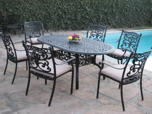 CBM Patio Sienna Collection 7 Piece Cast Aluminum Dining Set with 6 Arm Chairs DS-SA01-4272T