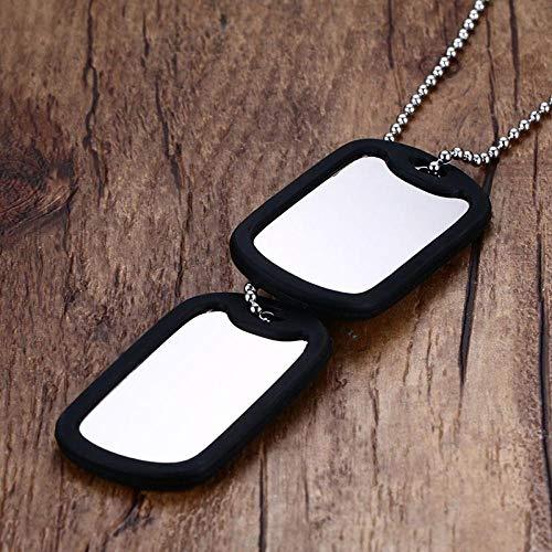 Collares Colgante Joyas Collar con Etiqueta De Perro Doble De Acero Inoxidable Colgante ID Hombres Joyería 24 Cadena-Black_Silicone